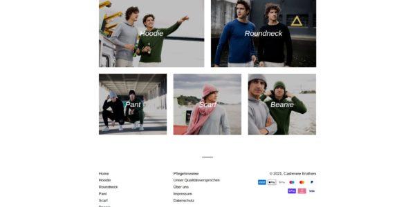 Projektbild 2: Screenshot der Produktübersicht der Cashmere Brothers