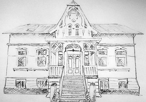 Bleistiftzeichnung der Stadtvilla